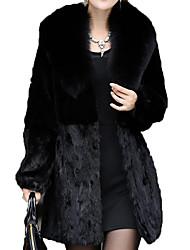 Недорогие -Жен. Повседневные Классический Длинная Пальто с мехом, Однотонный V-образный вырез Длинный рукав Полиэстер Черный XXL / XXXL / XXXXL