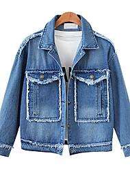 baratos -Mulheres Diário / Para Noite Moda de Rua / Sofisticado Primavera / Outono & inverno Tamanhos Grandes Curto Jaqueta jeans, Sólido Colarinho de Camisa Manga Longa Ganga Azul XXXL / 4XL / XXXXXL