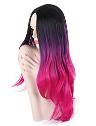 Недорогие -Парики из искусственных волос Жен. Волнистый Фиолетовый Средняя часть Искусственные волосы 26 дюймовый Для вечеринок / Классический / синтетический Фиолетовый / Омбре Парик Длинные Без шапочки-основы