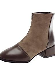 Недорогие -Жен. Fashion Boots Полиуретан Зима Ботинки На толстом каблуке Заостренный носок Ботинки Черный / Хаки