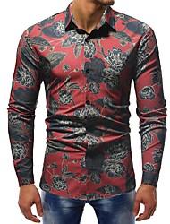 Недорогие -Муж. С принтом Рубашка Цветочный принт / Контрастных цветов