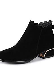 """Недорогие -Жен. Fashion Boots Искусственная кожа Зима Милая / Стиль """"Школьная форма"""" Ботинки На низком каблуке Круглый носок Ботинки Бант Черный / Бежевый / Пурпурный / Для вечеринки / ужина"""