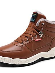 Недорогие -Муж. Комфортная обувь Кожа Зима Ботинки Сохраняет тепло Коричневый