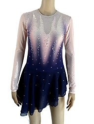 cheap -Figure Skating Dress Women's / Girls' Ice Skating Dress Dark Blue Spandex Micro-elastic Professional Skating Wear Sequin Long Sleeve Figure Skating