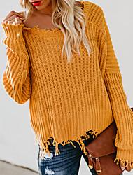 economico -Per donna Quotidiano Essenziale Tinta unita Manica lunga Standard Pullover, A V scollato Primavera / Autunno Cotone Bianco / Nero / Giallo S / M / L