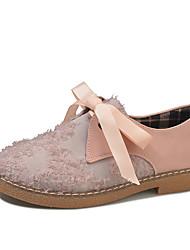 Недорогие -Жен. Комфортная обувь Полиуретан Осень Туфли на шнуровке На низком каблуке Круглый носок Черный / Розовый / Повседневные