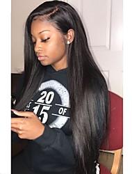 Недорогие -человеческие волосы Remy Полностью ленточные Парик Бразильские волосы Шелковисто-прямые Черный Парик Стрижка каскад 130% Плотность волос / Природные волосы / 100% ручная работа / с детскими волосами