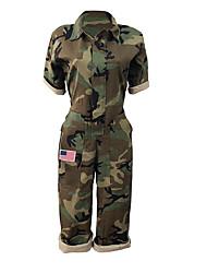 abordables -Femme Sports / Plage Basique V Profond Vert Véronèse Mince Combinaison-pantalon, camouflage Mosaïque / Imprimé L XL XXL Coton Demi Manches / Sexy