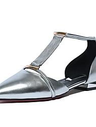 Недорогие -Жен. Комфортная обувь Наппа Leather Весна На плокой подошве На плоской подошве Золотой / Серебряный
