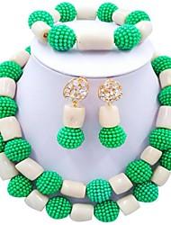 Недорогие -Жен. Многослойность Комплект ювелирных изделий - Шарообразные Мода Включают Струнные ожерелья Красный / Зеленый / Ярко-розовый Назначение Для вечеринок Повседневные