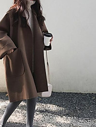 Недорогие -Жен. Повседневные Длинная Пальто, Однотонный Воротник Питер Пен Длинный рукав Акрил / Полиэстер Черный / Верблюжий M / L / XL