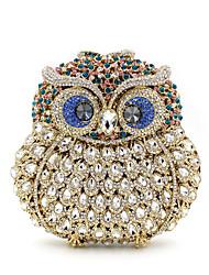 baratos -Mulheres Bolsas Liga Bolsa de Mão Detalhes em Cristal / Vazados Animal Preto / Azul Marinho / Prateado