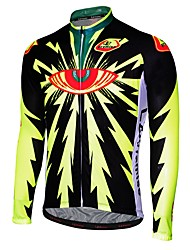 Недорогие -Malciklo Муж. Длинный рукав Велокофты - Черный / Черный / желтый Мультипликация Велоспорт Джерси, Дышащий, Быстровысыхающий, Анатомический дизайн Мультипликация / Слабоэластичная