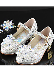 cheap -Girls' Shoes Leather Spring &  Fall Flower Girl Shoes Flats Walking Shoes Sparkling Glitter for Kids Silver / Wedding