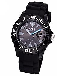 Недорогие -ASJ Муж. Спортивные часы Японский Кварцевый 30 m Защита от влаги Повседневные часы силиконовый Группа Аналоговый На каждый день Мода Черный / Белый - Белый Черный