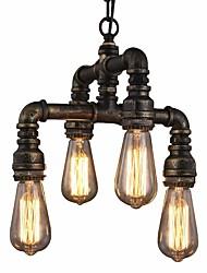 baratos -Sótão do vintage tubo industrial luzes pingente luzes criativas restaurante café bar lustre 4 luz pintado acabamento