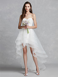cheap -A-Line Sweetheart Neckline Asymmetrical Lace / Tulle Made-To-Measure Wedding Dresses with Appliques by LAN TING BRIDE® / Beautiful Back