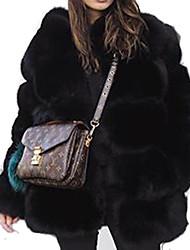 baratos -Mulheres Casaco de Pêlo Sofisticado - Sólido Patchwork