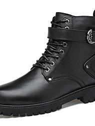 billiga -Herr Fashion Boots Nappaskinn Vinter Ledigt Stövlar Håller värmen Stövletter Svart