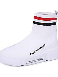 baratos -Mulheres Sapatos Confortáveis Com Transparência / Tecido elástico Outono Casual Tênis Sem Salto Ponta Redonda Branco / Preto / Vermelho / Estampa Colorida