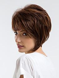 Недорогие -Человеческие волосы без парики Натуральные волосы Волнистый Стрижка под мальчика / Короткие Прически 2019 Стиль Природные волосы Темно-коричневый Без шапочки-основы Парик Жен. На каждый день