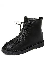 Недорогие -Жен. Армейские ботинки Полиуретан Осень На каждый день Ботинки На плоской подошве Ботинки Черный / Темно-коричневый