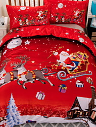 abordables -Ensembles housse de couette Noël Polyester Imprimé 3 PiècesBedding Sets / 3 pièces (1 housse de couette, 2 housses d'oreiller)