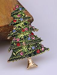 baratos -Homens Zircônia cúbica Clássico Broches - Ternos de Papai Noel, Árvore de Natal Clássico, Desenho, Estilo bonito Broche Verde / Verde / Vermelho Para Natal / Diário