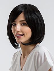 Недорогие -Человеческие волосы без парики Натуральные волосы Прямой Стрижка боб / Короткие Прически 2019 Стиль Природные волосы Черный Без шапочки-основы Парик Жен. На каждый день