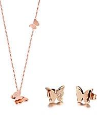 baratos -Mulheres Fashion Conjunto de jóias - Aço Inoxidável, Rosa Folheado a Ouro Borboleta Coreano Incluir Brincos Curtos Colar Dourado Para Presente Diário