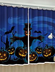 Недорогие -Хэллоуин 3D-шторы 2 шторы Занавес / Солнцезащитные / Спальня