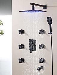 abordables -mitigeur thermostatique pour robinet de douche de salle de bains contemporain / pomme de douche à effet de pluie led de 10 pouces / douchette et bec inclus / noir mat dépoli