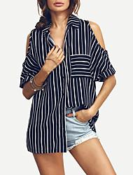 Недорогие -женская рубашка размера размера - полосатый воротник рубашки