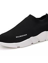 Недорогие -Жен. Комфортная обувь Эластичная ткань Лето Мокасины и Свитер На плоской подошве Черный
