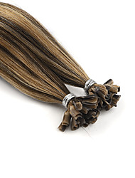 baratos -Neitsi Queratina / Ponta U Extensões de cabelo humano Liso Âmbar Extensões de Cabelo Natural Cabelo Humano Mulheres - Marrom Médio / louro da morango