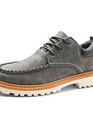 Недорогие -Муж. Комфортная обувь Полиуретан Осень На каждый день Туфли на шнуровке Доказательство износа Черный / Серый / Хаки