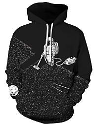 baratos -hoodie solto de manga comprida masculina - com capuz geométrico