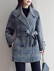お買い得  -女性のコート - チェック/シャツの襟