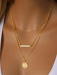 baratos -Mulheres Dupla Camada colares em camadas - Simples, Na moda Fofo, Legal Dourado 40 cm Colar Jóias 1conjunto Para Festa / Noite, Para Noite