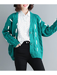 Недорогие -женский длинный рукав шерстяной кардиган - цветной блок