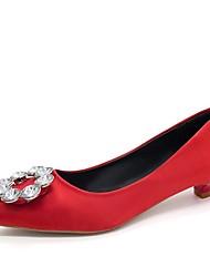 Недорогие -женская удобная обувь пу (полиуретан) каблуки осенние котенок каблук заостренный носок бежевый / красный / синий / ежедневно