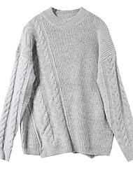 Недорогие -Жен. Повседневные Однотонный Длинный рукав Обычный Пуловер Серый S / M / L