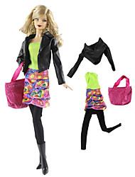 Недорогие -Аксессуары для кукол Кукольный наряд Кукольные штаны Повседневная Лолита Из двух частей 4 pcs Для Barbie Мода Зеленый и черный Нетканое полотно Ткань Хлопковая ткань Пальто / Кофты / Юбки Для Девичий