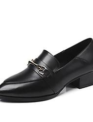 Недорогие -Жен. Комфортная обувь Кожа Весна Мокасины и Свитер На толстом каблуке Черный