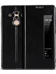 billige -Etui Til Huawei Mate 10 pro / Mate 10 Stødsikker / Med stativ / Med vindue Fuldt etui Ensfarvet Hårdt ægte læder for Mate 10 / Mate 10 pro