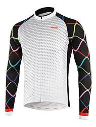 baratos -Arsuxeo Homens Manga Longa Camisa para Ciclismo - Branco Criativo Moto Blusas, Redutor de Suor Polyster / Micro-Elástica / Construção em Painéis Múltiplos / Tinta Importada Itália
