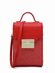 abordables -Femme Sacs PU Mobile Bag Phone Couleur unie Noir / Argent / Rouge