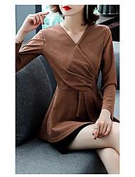 billige -Dame - Ensfarvet Flettet / Blondér Basale Skjorte