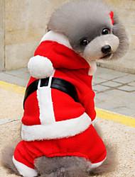 baratos -Cachorros Camisola com Capuz Roupas para Cães Natal Vermelho + preto / Vermelho / Verde Algodão Ocasiões Especiais Para animais de estimação Unisexo Mantenha Quente / Laço