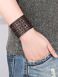 abordables -Homme Le style rétro Tressé Bracelets en cuir Loom Bracelet - Cuir Pointe Elégant, Rétro, Punk Bracelet Marron Pour Plein Air Sortie